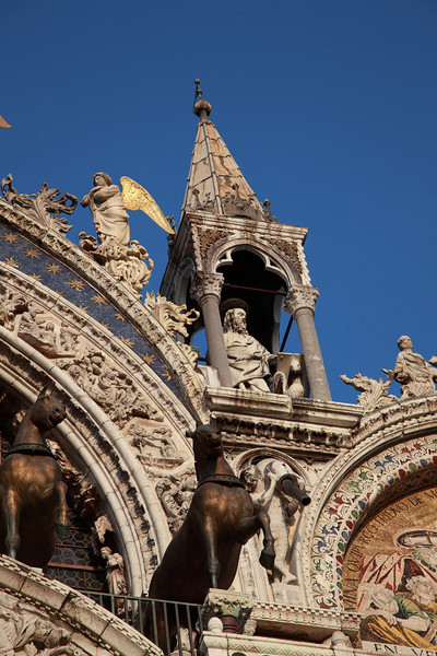 The ornate decorations of St Mark's Basilica, St Mark's Square, Venice, Italy