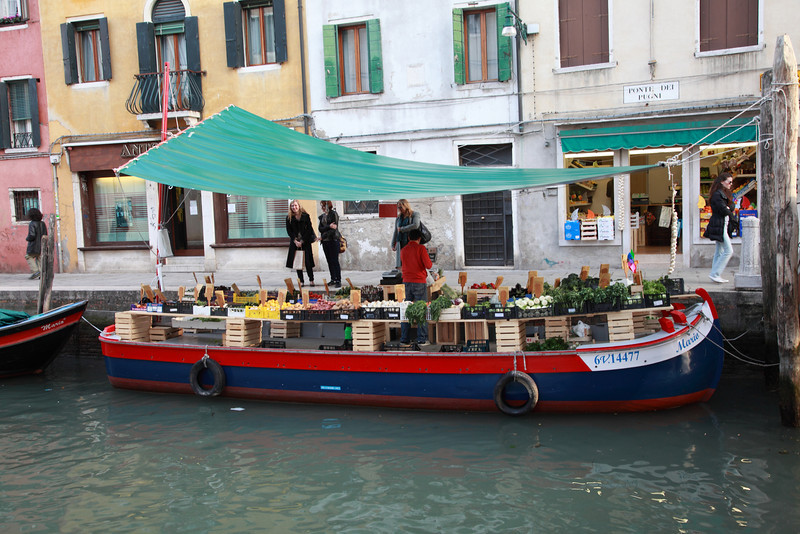 Gondola used as a vegetable stall in Venice