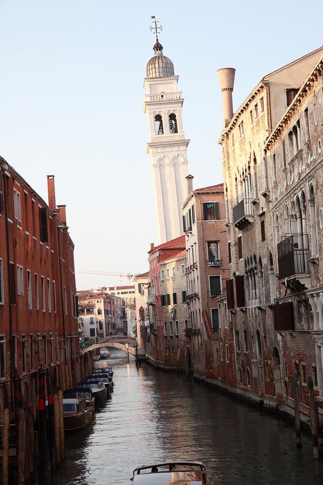 The Leaning Tower of San Giorgio dei Greci, seenfrom Rio dei Greci, Castello, Venice, Italy