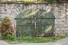 Back gate from the outside.  Made in Cincinnati. Jailer's Inn, Bardstown, Kentucky