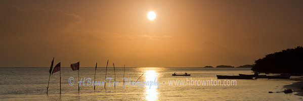 Sunrise over Jamaican fishing village