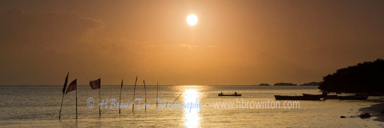 Sunrise over Jamaican fishing village