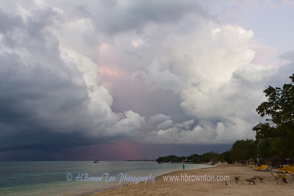 Strong winds and storm clouds quickly building over Jamaica