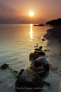 Sunrise over Jamaican fishing village.