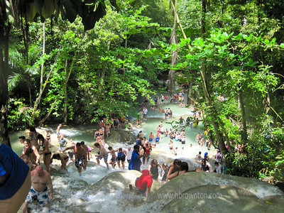 Near the top of Dunn's River Falls