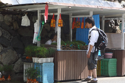 Stall selling the bundled pine leaves which are used as offerings at the shrines and tombs.