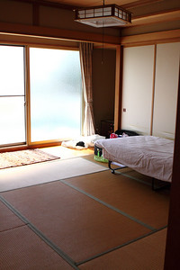 With no-one else staying at the dojo, I had the place to myself except when classes were being run. This was my very spacious room at the dojo.