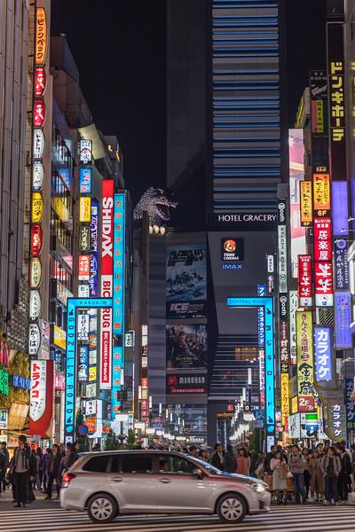Busy Street in Shinjuku, Japan