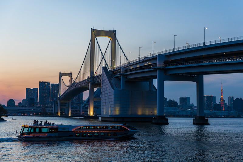 The Rainbow Bridge in Tokyo Japan