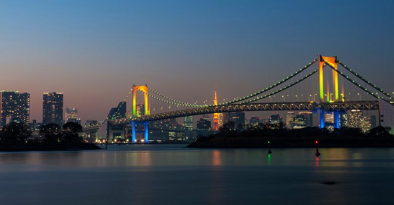Rainbow Bridge and Tokyo Bay, December 2015.