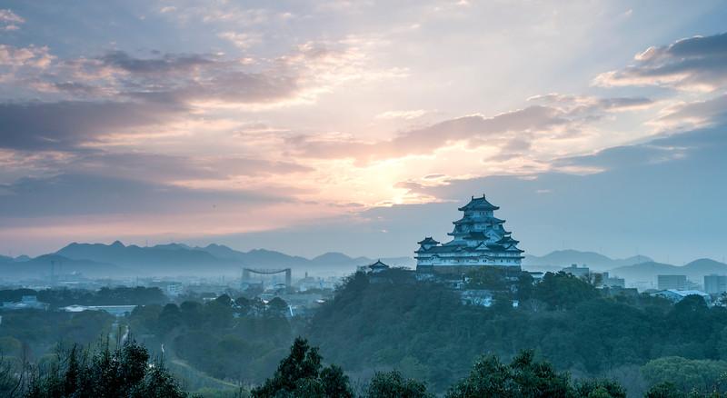 Himeji Castle from  Otokoyama at sunrise, December 2015.