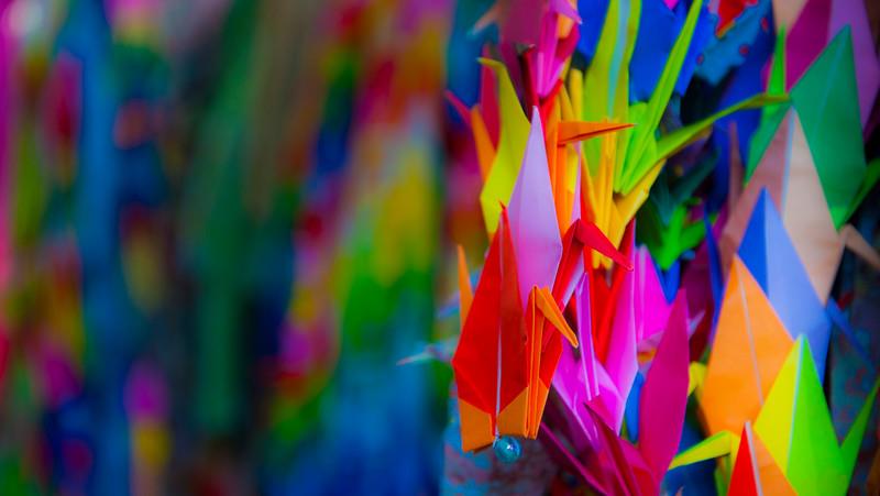 Colorful paper cranes at Hiroshima Peace Memorial Park.