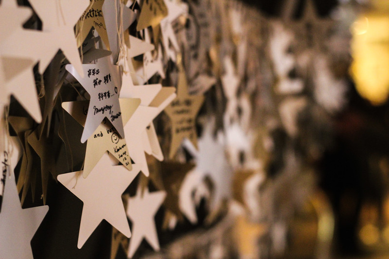 Wishes written on stars in the observatory of the Umeda Sky Building in Osaka, Japan.