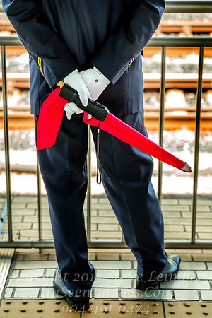 Guard at Bullet Train Tracks - Copyright 2017 Steve Leimberg UnSeenImages Com L1210548