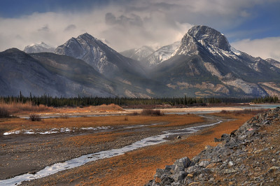 Beautiful mountain scene near Jasper, Alberta