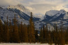 Winter scene of the Rocky Mountains near Jasper, Alberta