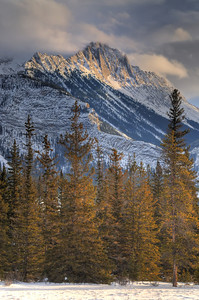 Winter scene of a mountain peak near Jasper, Alberta