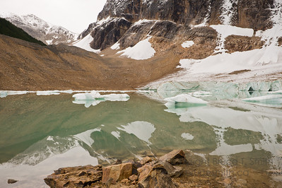 Glacial meltwater lake view - below the Angel Glacier, Mount Edith Cavell, Jasper National Park, Alberta