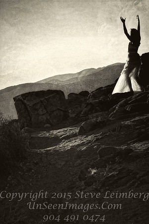 Dancer on the Rocks - Joshua Tree - B&W Copyright 2016 Steve Leimberg - UnSeenImages Com L1100959