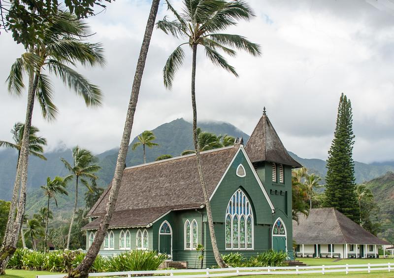 The Wai'oli Hui'ia Church in Hanalei, Kauai, Hawaii.