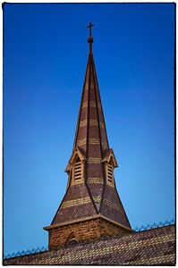 Steeple of the Church of the Holy Spirit on the Kenyon College campus in Gambier, Ohio.