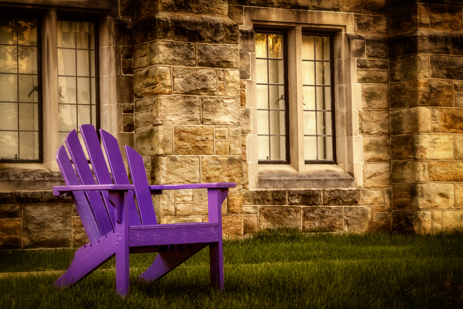 Chair behind the Samuel Mather Science Hall on the Kenyon College campus in Gambier, Ohio. Photographed on July 16, 2013.