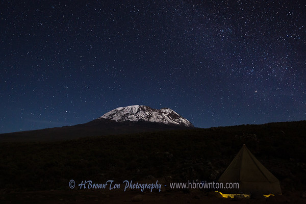 Mt. Kilimanjaro at Night from Shira Camp 1