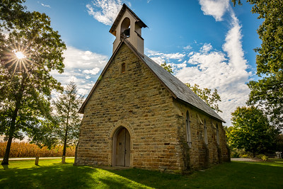 Quarry Chapel built in 1862 located in Knox County near Gambier, Ohio. Photographed on September 26, 2015 by Joe Frazee.