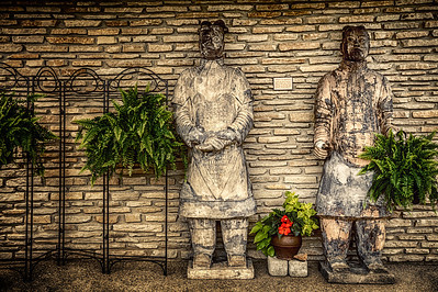 Terracotta Warriors in front of main house at the Schnormeier Gardens on Laymon Road west of Gambier, Ohio in Knox County. Photographed on June 8, 2013.