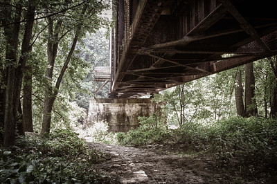 Under Trestle Bridge No.2 along the Kokosing Gap Trail near Gambier, Ohio.