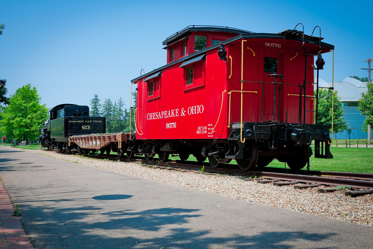 The locomotive and caboose at the trail depot in Gambier, Ohio along the Kokosing Gap Trail.