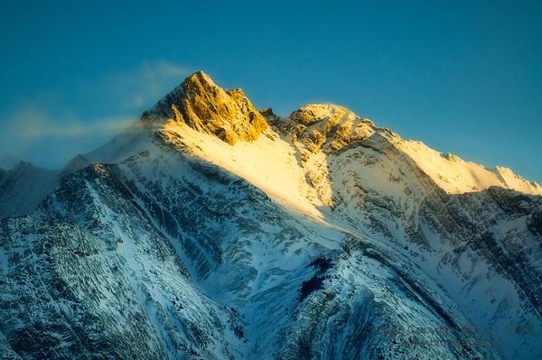 Last rays of sunset on Mount Michener
