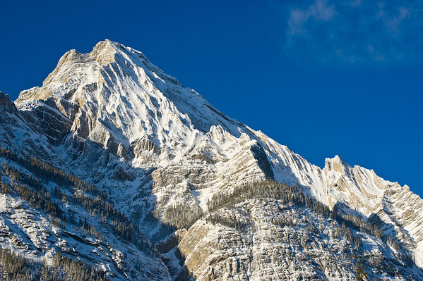 Rugged mountain peak in the early morning sunshine.