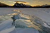 Sunrise over the amazing ice of Abraham Lake