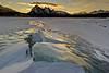 Sunrise over the amazing ice of Abraham Lake