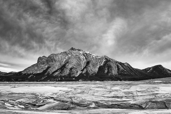 Mount Michener, Abraham Lake, Alberta, in winter
