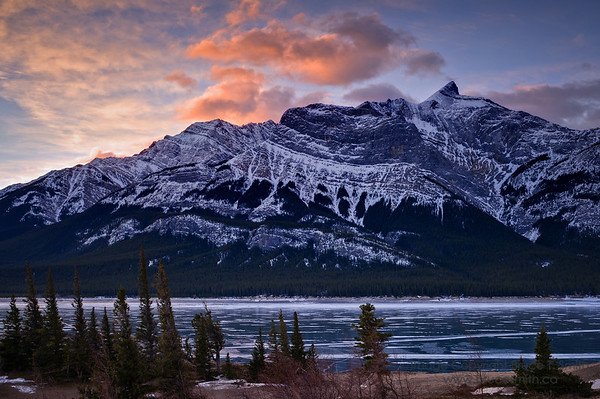 Mount Michener at sunrise<br /> <br /> A winter view from Windy Point across Abraham Lake to Mount Michener.