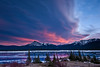 Underlit eastern clouds at sunset over Abraham Lake, Alberta.<br /> <br /> There was a great cloud front running right across the sky, and even with a howling wind, it was stationary.  I took this shot just as the setting sun underlit the clouds.