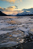Sunset across the ice from the shore of Abraham Lake.
