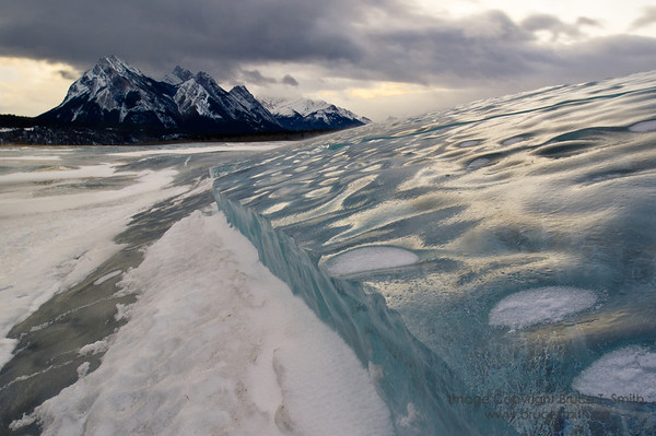 Closeup view across a slab of ice on Abraham Lake.