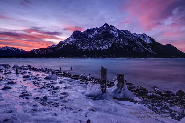Icy shore at sunrise
