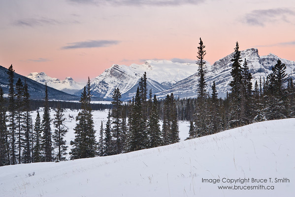 Rocky mountains before sunrise.<br /> <br /> This was the view looking along the North Saskatchewan River valley near Kootenay Plains / Abraham Lake in January, in the soft pastel light just before sunrise.