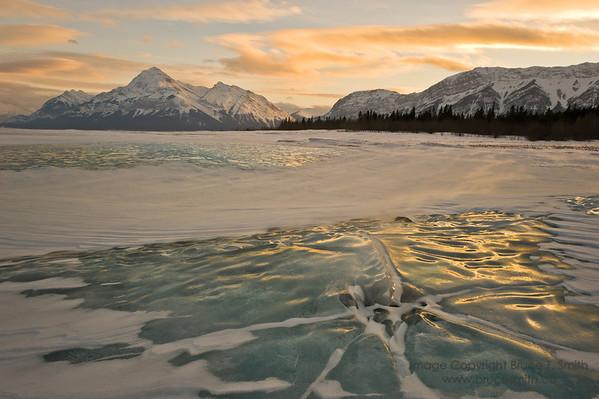 Abraham Lake Icy Sunset