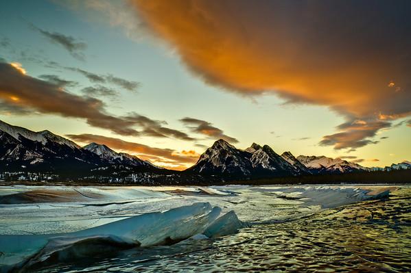 Amazing sunrise over Abraham Lake in early February.