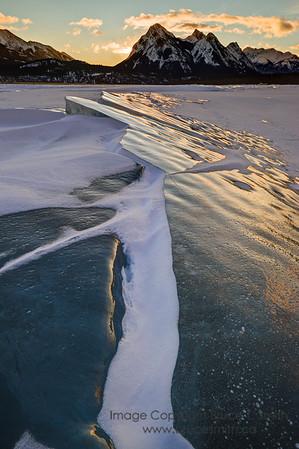 Abraham Lake Ice Sunrise