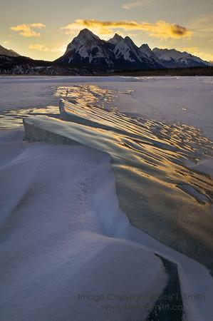 Sunrise over the amazing ice of Abraham Lake.