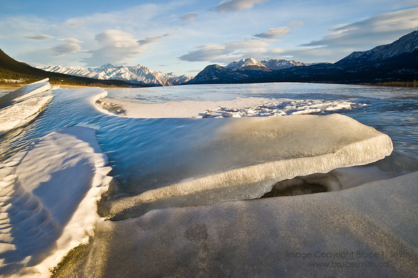 Slabs of ice on the frozen surface of Abraham Lake, Alberta.