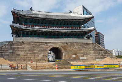 Namdaemun gate (still under reconstruction after the 2008 fire), Seoul, South Korea