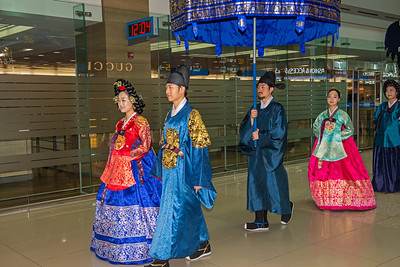Wedding procession (reenactment) at Incheon Airport.