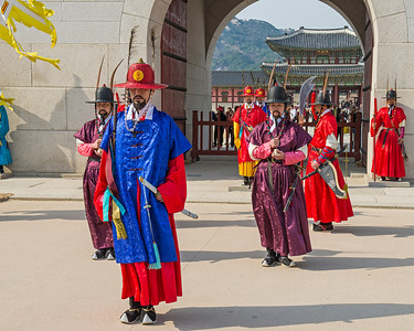Changing of the guard, Gyeongbokgung Palace, Seoul, Korea.  Originally built in 1395 and then rebuilt in 1867.